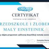 Certyfikat dla przedszkola - ozonowanie
